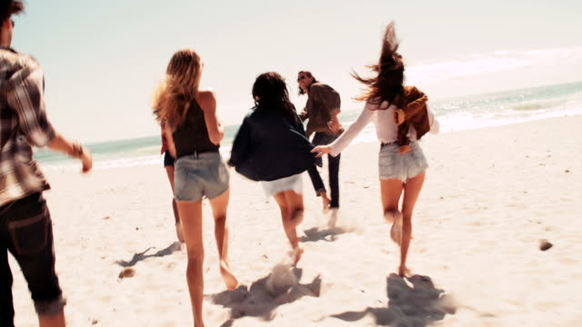 Multi-Ethnic group of road trip friends running at sunny sandy beach video