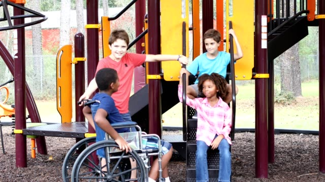 Multi-ethnic group of school children on school playground, one wheelchair. video