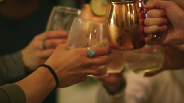 a multi-ethnic group of women in their twenties toast their drinks in a cozy indoor setting - напиток стоковые видео и кадры b-roll