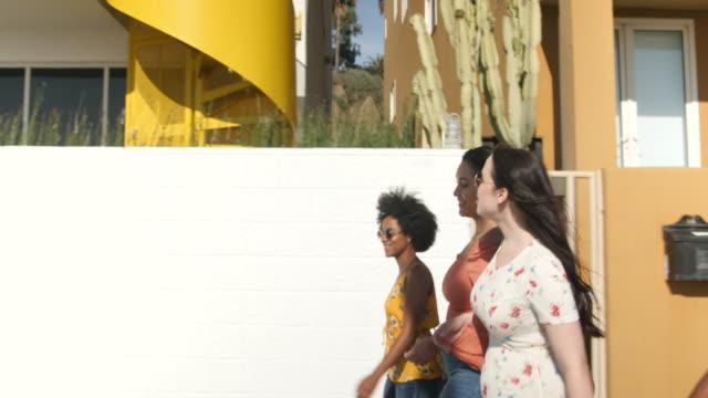 multi-ethnic group of women walking in the city - amicizia tra donne video stock e b–roll