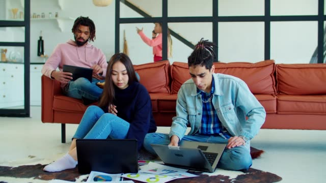 Multiethnic startup team creating business project