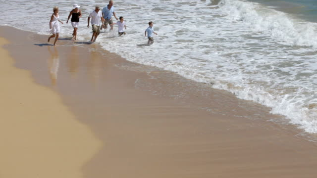 Multi-generation family running on beach together video