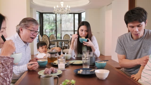 Multi-Generation Taiwanese Family at the Breakfast Table
