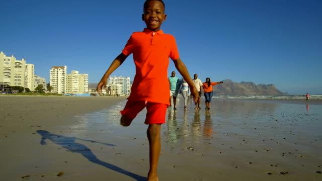 複数世代の家族がビーチで休暇 ビデオ