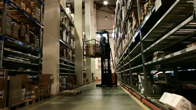 Multilevel warehouse of pharmaceutical production, the loader workers video