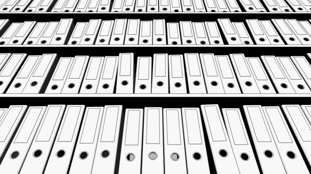 Multiple black and white sketchy office binders. Low angle view. FullHD seamless loop animation video