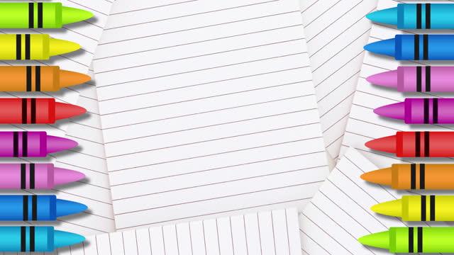 pastelli colorati multipli contro carta foderata di bianco - matita colorata video stock e b–roll