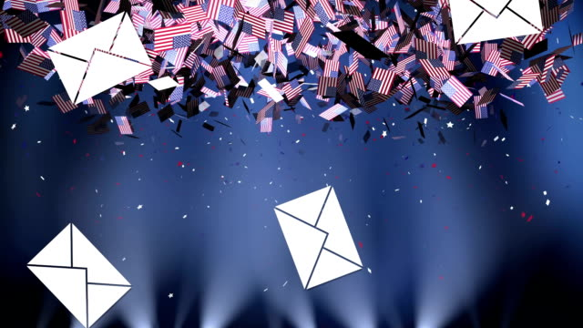 vídeos de stock e filmes b-roll de multiple envelope icons and american flags falling against spotlights on blue background - democracy illustration