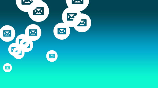 Multiple envelope icons floating against green background Animation of multiple email envelopes icons floating against yellow background. Global social media network concept digitally generated image. e mail stock videos & royalty-free footage