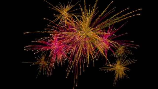 Multiple firework explosions with trails. Separated on pure black background, contains alpha channel. firework explosive material stock videos & royalty-free footage