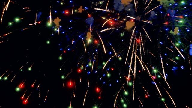 Multiple fireworks. Christmas celebration fireworks UHD 4K video
