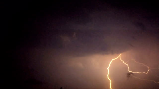 Multiple lightning bolts flash across dark sky, violent thunderstorm, disaster