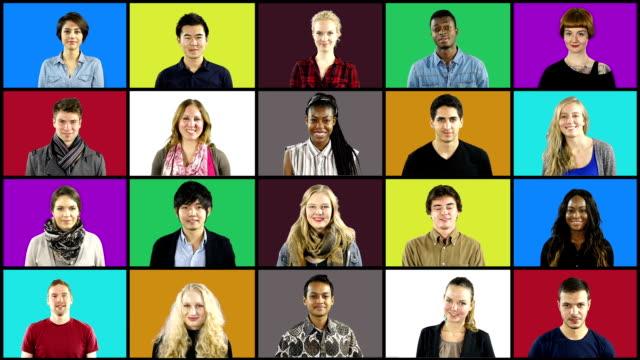 Video Multiple People portrait montage Squares on Coloured Grid