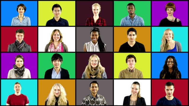 Multiple People portrait montage Squares on Coloured Grid Stock HD video clip footage of a Montage of People smiling to the camera square composition stock videos & royalty-free footage