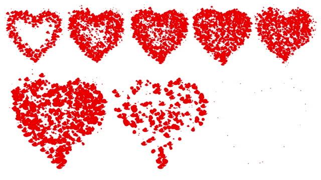 HEART : multiple, red, white back (LOOP) video