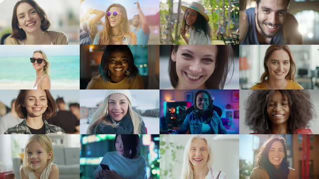 Multiple Screen Montage: Diverse Group of Beautiful Authentic Women Smiling and Looking at Camera. Gorgeous Females of Different Age, Background, Ethnicity, Beauty and Character Smiling Together Multiple Screen Montage: Diverse Group of Beautiful Authentic Women Smiling and Looking at Camera. Gorgeous Females of Different Age, Background, Ethnicity, Beauty and Character Smiling Together mosaic stock videos & royalty-free footage