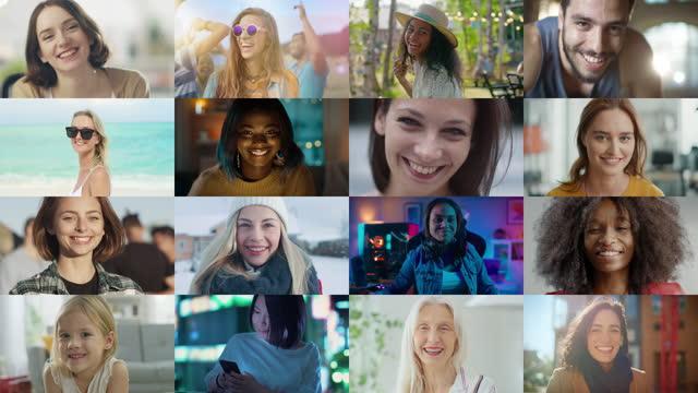 vídeos y material grabado en eventos de stock de montaje de pantalla múltiple: grupo diverso de hermosas mujeres auténticas sonriendo y mirando a la cámara. hermosas mujeres de diferentes edades, orígenes, etnia, belleza y personaje sonriendo juntos - mosaico