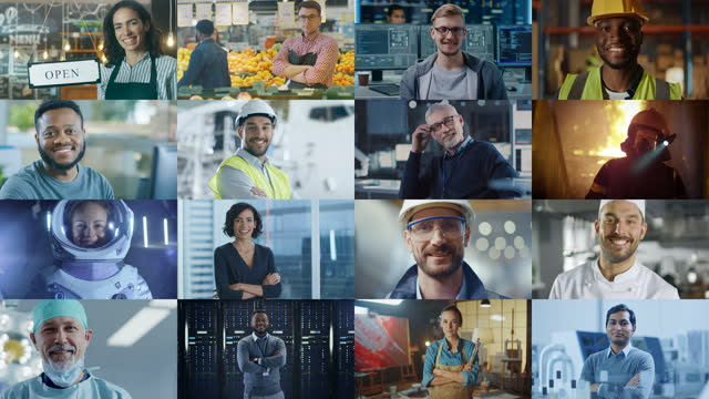 Multiple Screen Montage: Diverse Group of Professional People Smiling. Business People, Entrepreneur, Worker, Engineers, Female Astronaut, Artist, Chef, CEO, IT Specialist. Happy Workers of the World