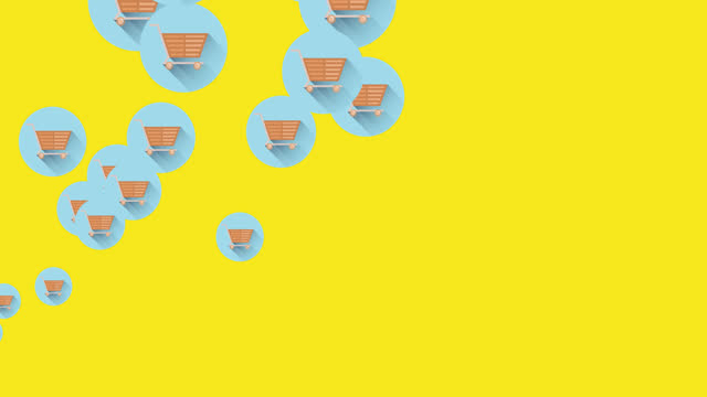 Multiple shopping cart icons moving against yellow background