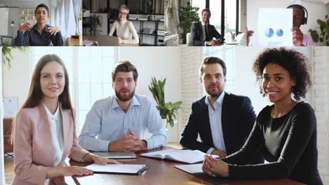 vídeos de stock e filmes b-roll de multiracial business people group participating conference video call meeting - envolvimento dos funcionários