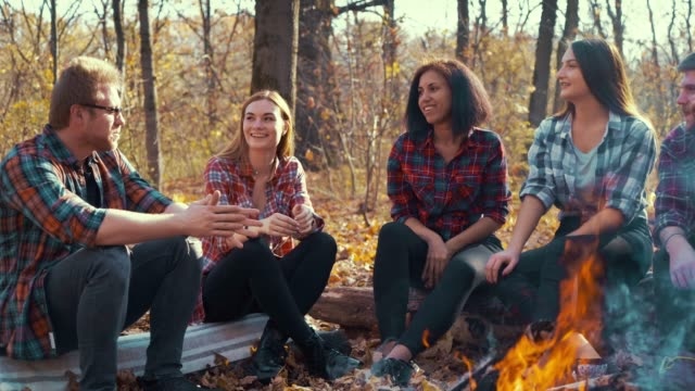 Multiracial group of hikers storytelling by campfire in autumn forest video