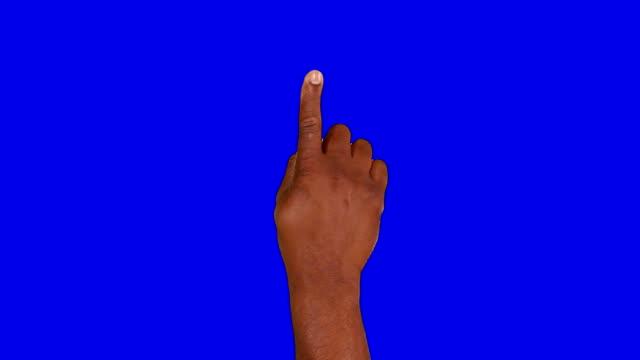 Multiracial hands. Tablet. Touchscreen gestures. Blue Screen. video
