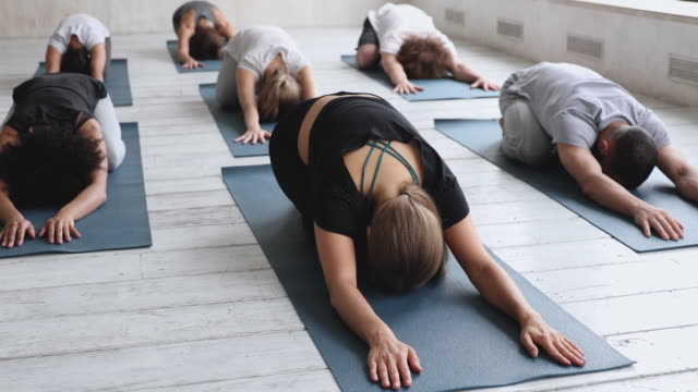 Multiracial people practising Child Pose reducing fatigue after workout Multiracial young people practising asana lying down on mats in row in sport studio. Group performing Child Pose reducing fatigue after work out, posture helps relief of stress. Yoga session concept mindfulness stock videos & royalty-free footage