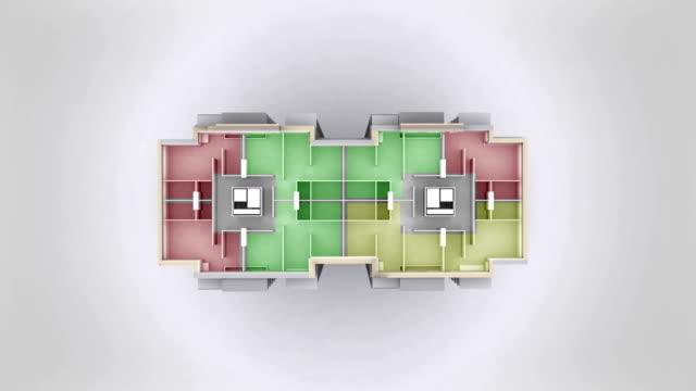 Multiroom apartment house outline. video