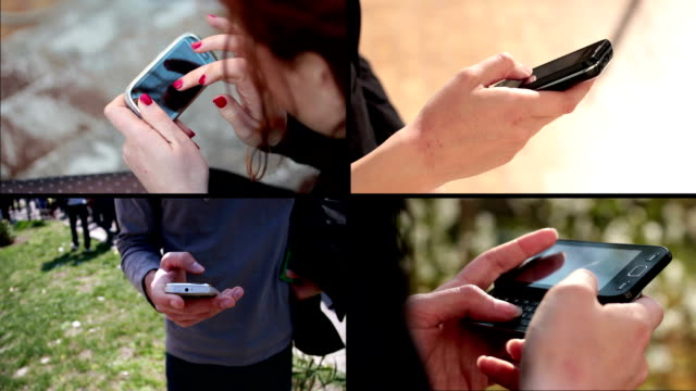 multiscreen footage of people using mobile phones video