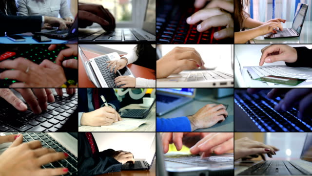 multiscreen of of business,technology. hands typing on computers