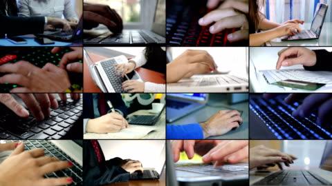 multiscreen von der wirtschaft, technik. hände, die auf computern eingeben - kommunikation themengebiet stock-videos und b-roll-filmmaterial