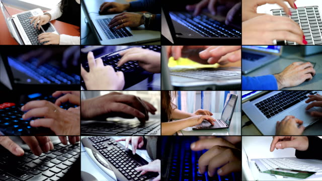 Multiscreen of technology,business,modernity. People using computers Multiscreen of technology,business,modernity. People using computers mosaic stock videos & royalty-free footage