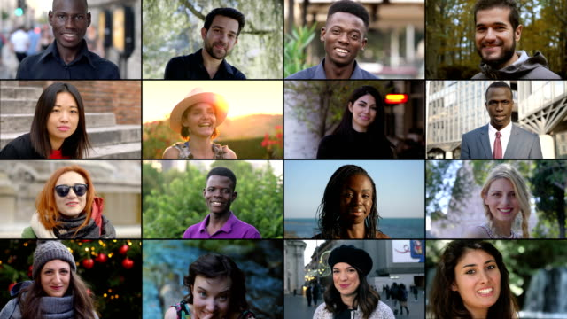 Multiscreen on happy smiling young people.Youth,happiness Multiscreen on happy smiling young people.Youth,happiness mosaic stock videos & royalty-free footage
