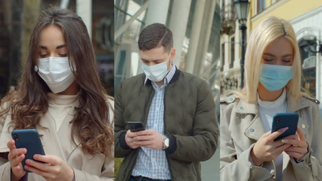 Multiscreen on people using smartphone in everyday life. c Group of people in masks, collage citizens Virus mask on street wearing face protection in prevention for coronavirus covid 19.