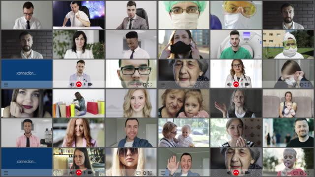 vídeos y material grabado en eventos de stock de multipantalla (36 pantallas) en personas multiétnicas sonrientes con diversidad generacional. - mosaico