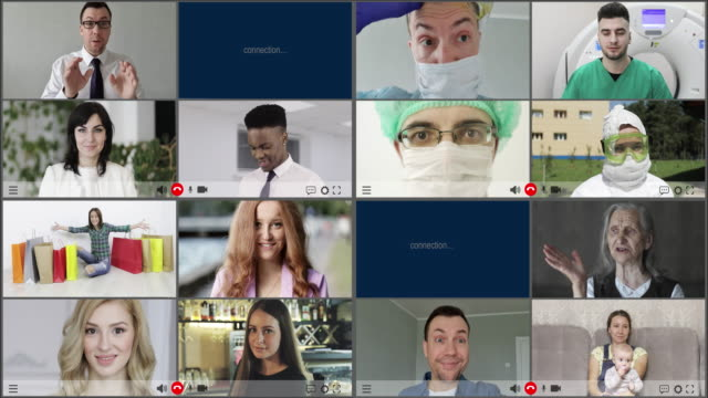 Multiscreen (increasing number of screens) on smiling multiethnic people with generational diversity.