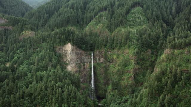 AERIAL Multnomah Falls in Oregon