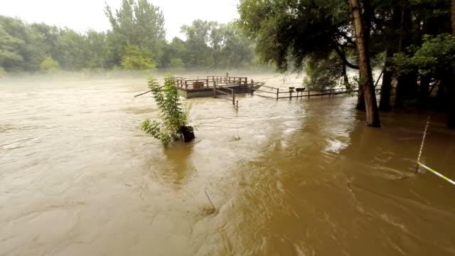 AERIAL Mur River Flood HD1080p: AERIAL shot of the Mur river flooding surrounding areas. Pannonian Basin. Prekmurje. Slovenia. Europe slovenia stock videos & royalty-free footage