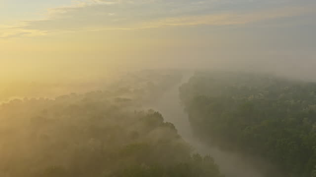 AERIAL Mur river in the morning fog video