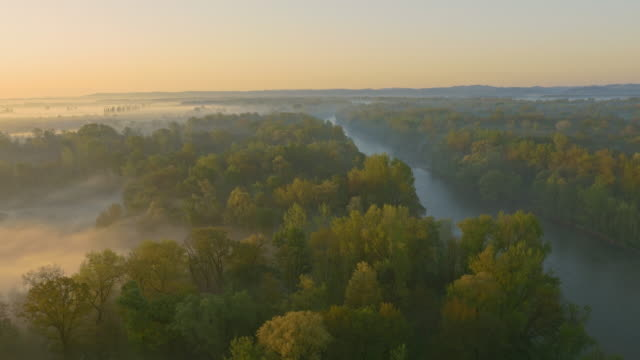 AERIAL Mur river in the morning mist video