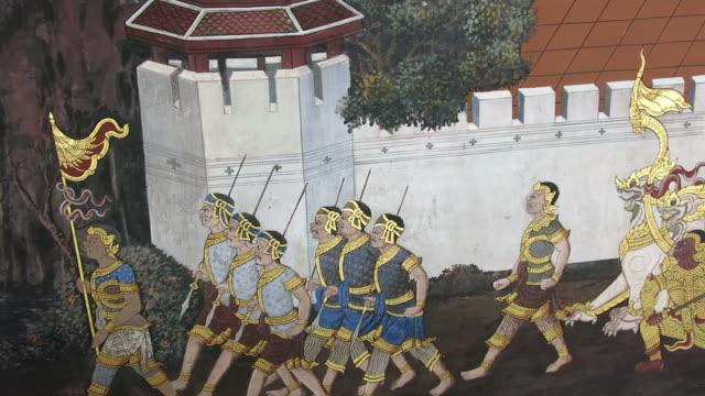 Mural in Wat Pra Kaew video