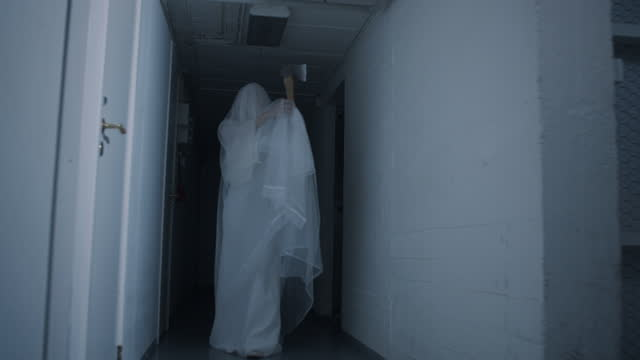murderous ghost bride attacking in basement - basement stock videos & royalty-free footage