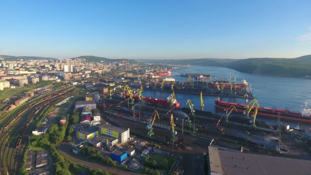 Murmansk city view from the top. video