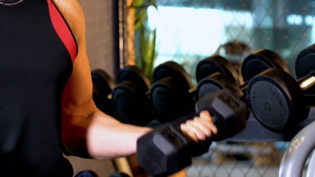 muscle man lyft dumbbell i gymmet - styrketräning bildbanksvideor och videomaterial från bakom kulisserna