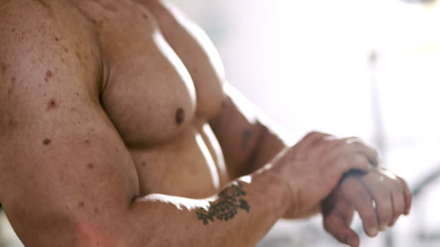 SLO MO Muscles of a bodybuilder