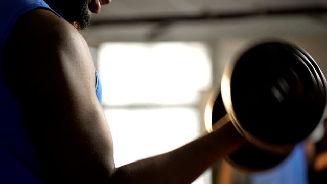 Muscular arms of athlete doing dumbbell curls, man building strong biceps in gym video