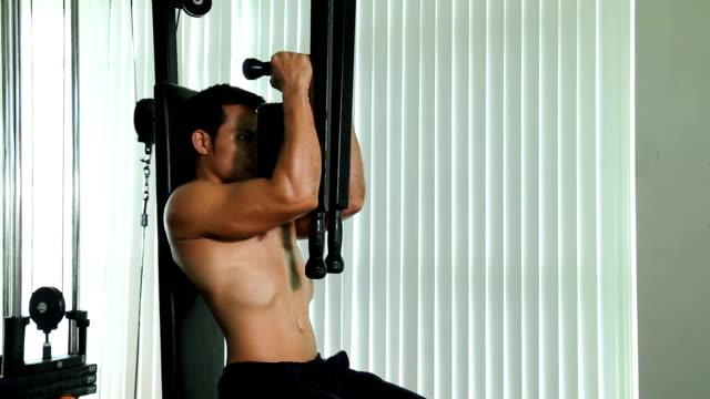 マッチョな若い男性強度トレーニング マシンでワークアウト - 筋肉質点の映像素材/bロール