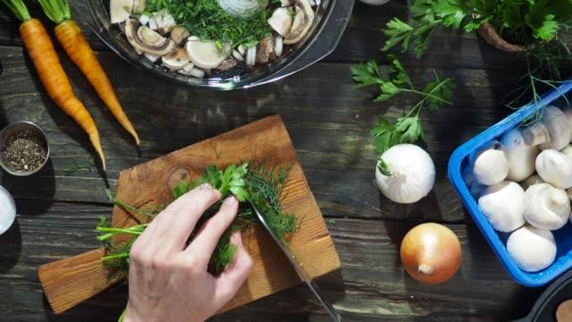 vídeos de stock e filmes b-roll de mushroom soup cooking - cortar atividade