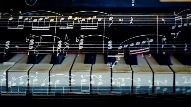 vídeos de stock e filmes b-roll de music and piano keys - piano