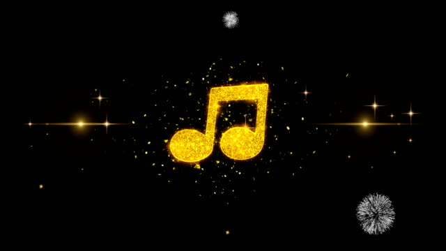 Music Chord Icon on Glitter Golden Particles Firework.